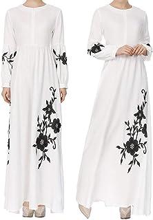Womens Muslim Chiffon Long Sleeve Long Maxi Dress Vintage Dresses