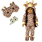 MY GENIUS DOLLS Clothes - Giraffe Onesie Pajama with Matching Sleepover Masks - Clothes for 18 inch Dolls Like Our Generation, My Life, American Girl Doll. Accessories for Slumber Party Favor