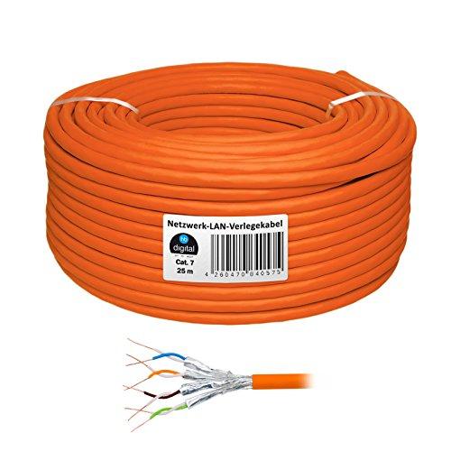 HB Digital Netzwerkkabel LAN Verlegekabel Cabel 25m cat 7 Kupfer Profi S/FTP PIMF LSZH Halogenfrei orange RoHS-Compliant cat. 7 Cat7 AWG 23/1