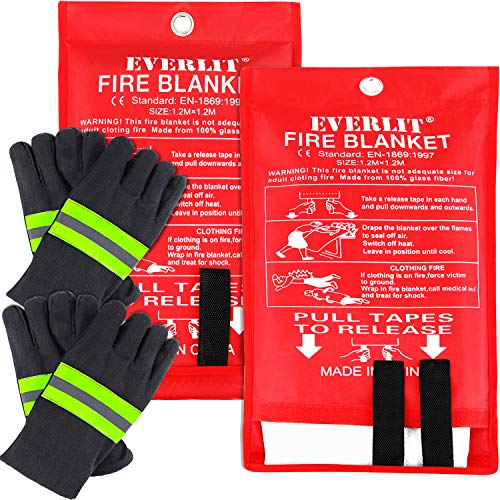 EVERLIT [2-Pack] Fire Blanket Size XL 47''x47'' Fire Suppression Emergency Blanket w/Heat Resistant Gloves w/Reflective Strap for Kitchen, Camping, Grilling