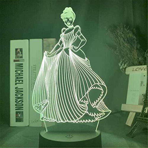 Lámpara de ilusión 3D, luz de noche Led, princesa visual de Disney, Alicia, Cenicienta, jazmín, lámpara de mesa acrílica, decoración del hogar, juguetes para niños