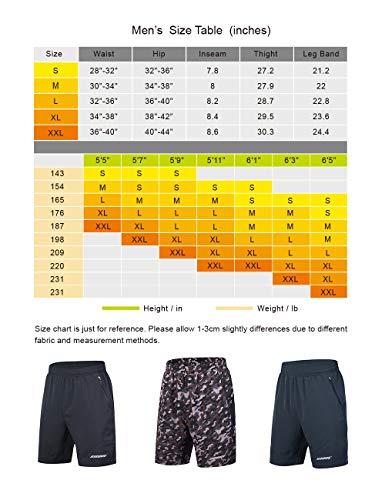 Souke Sports Men's Workout Running Shorts Quick Dry Athletic Performance Shorts Black Liner Zip Pockets(Darkgrey, Large)