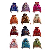 Lilith li 12Pcs/Set Silk Brocade Jewelry Pouch Double Layer Drawstring Coin Purse Gift Bag