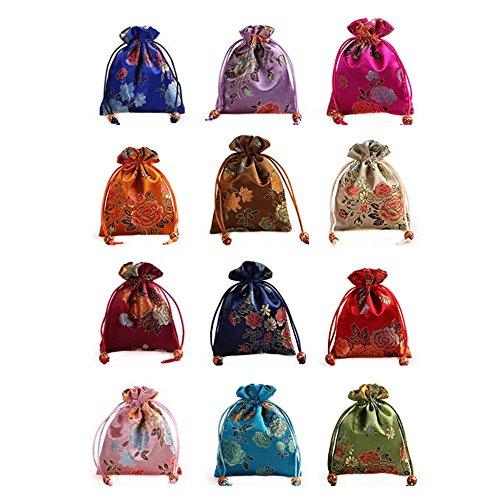 Lilith li 12 peças/conjunto de bolsa de joias brocado de seda com cordão de camada dupla bolsa de presente