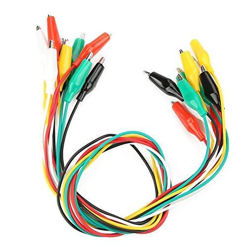 Paquete de 10 Líneas de Prueba Pinza Cocodrilo 19.7 Pulgadas Cable 5 Colores Línea de Color
