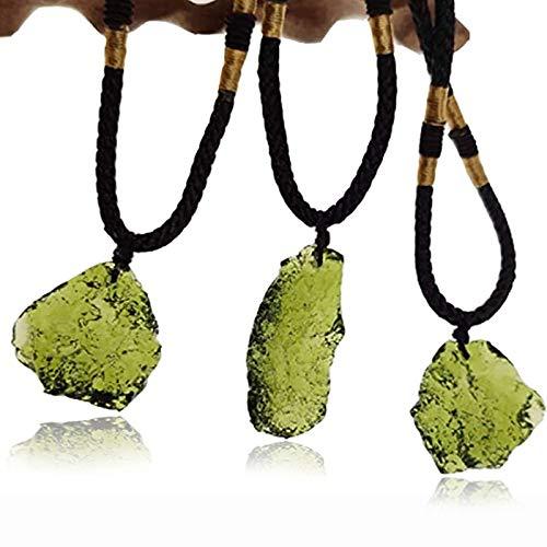 KGIDK Collar De Moldavita, Cristal De Piedra De Moldavita De Forma Irregular, Collar con Colgante De Moldavita Real, Colgante De Meteorito De Cristal Checo para Hombres Y Mujeres (5.1-10g)