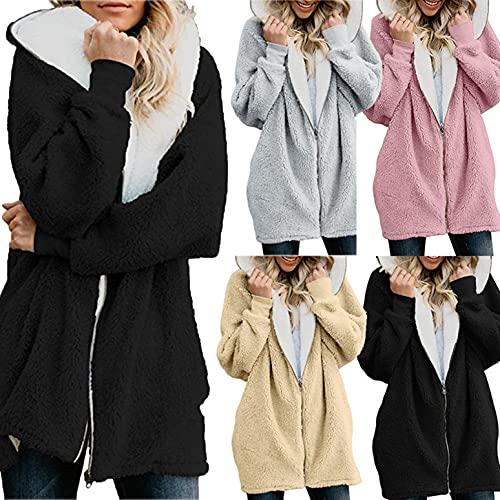 Chaqueta con capucha para mujer, larga, de invierno, con forro polar, retro, monocolor, con cremallera, de felpa, amarillo, XXL