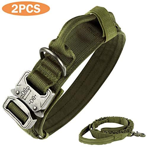 nobrand Taktisches Hundehalsband, Nylon, verstellbar, K9-Halsband, robuste Metallschnalle mit Griff, und taktischer Bungee-Hundeleine, Nylon, verstellbar, Militär-Hundeleine (XL, Armeegrün)