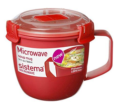 "Sistema SI1142 Suppentasse \""Microwave\"" 565 ml, Kunststoff, rot, 11 x 13.4 x 10.7 cm"