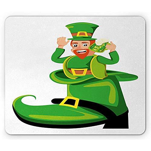 Alfombrilla de ratón antideslizante, alfombrilla de ratón con diseño de personajes irlandeses en una gran bota con una taza de cerveza, alfombrilla de goma antideslizante rectangular