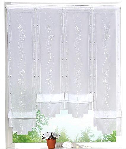 heimtexland ® Clip-Panneau Scheibengardine mit Stickerei Blätter Ranke in weiß HxB 120x73 cm Hochraff Gardine Cliprollo Panneaux Bestickt Ökotex Typ405