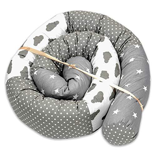 Bettschlange baby Nestchenschlange Bettrolle - Patchwork Bettumrandung Babybett umrandung Nestschlange aus Baumwolle für Kinderbett