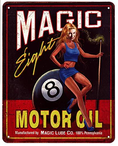 Blechschild Magic Eight Ball Motor Billard 20 x 25 cm Deko Schild mit Aufdruck Aufschrift