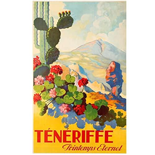 España Tenerife Island Scenic Travel Tour Islas Canarias Vintage Poster Canvas Wall Art Home Decor-20x28 Pulgadas x1 Sin marco