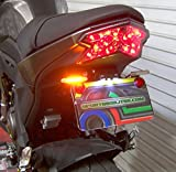 LED Fender Eliminator Kit with LED Flasher Relay for Kawasaki Z125 Pro - Red Turn Signals, Smoked Lens