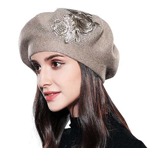 Beret Hat for Women Winter Embroidered French Style Beret Beanie Cap Rabbit Fur Blend Yarn Artist Hat with Rhinestone (Coffee-Three Flowers)