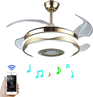 Modern 42 inch Ceiling Fan with Colorful LED Light Bluetooth Remote Control Music Player Stealth Ceiling Fan Light Suitabl...