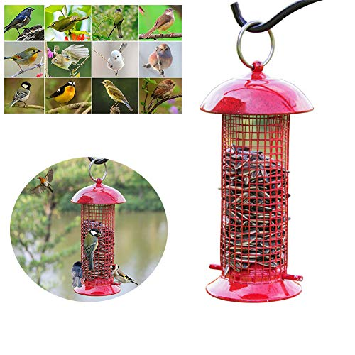 HHORD Mangeoire À Oiseaux Classic Tube Feeder Outdoor Hanging Wild Bird Feeders, Wine Red
