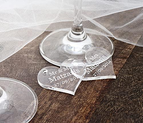 Personnalisé 4 cm en bois en forme de cœur pour dragées de mariage, invitations ou décoration de table., claire, 40mm Wide