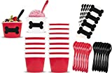 Dog Theme Ice Cream Set with 8 Ounce Paper Cups, Plastic Spoons, Dog Bone Chalkboard Labels 24 Each Red, Black and White by Outside the Box Papers