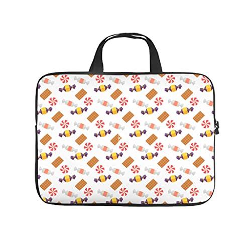 Facbalaign Bolsa para ordenador portátil de Karikatur Candy Chocolate bolsa de mensajero impermeable de alta calidad con asa, blanco, 10 pulgadas,
