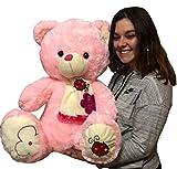 LOYFER Oso de Peluche cariñoso Muy Suave para niños y niñas de 60cm (Rosa)
