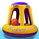 Pool Basketball Hoop, Inflatable Hoop with Ball Included, Basketball Shots Pool Games, Summer Outdoor Water Pool Toys for Kids Adults Family