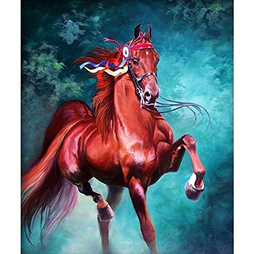 LUCKYYY diamant-schilderij roodbruin paard diamant-paardenborduurwerk volledige ronde kruissteek-decoratie voor hoofdgeschenk-dieren