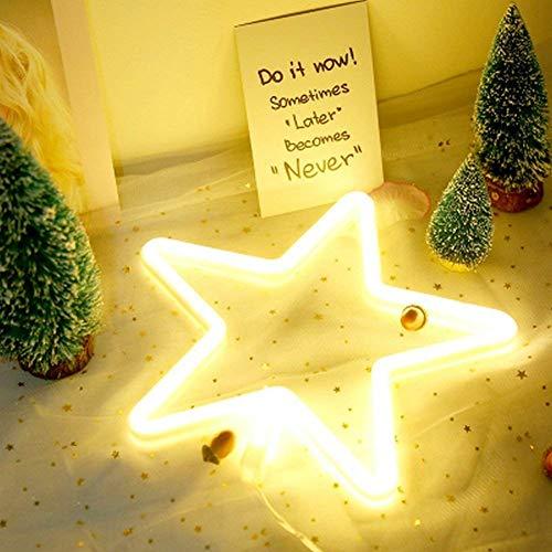 LED En forme d'étoile Au Néon De Lumières Art Décoratif Mur Décoratif Exploité Par USB/Batterie avec Blanc Chaud pour La Chambre De Bébé D'enfants Décoration De Fête De Mariage De Noël
