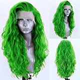 RDY Green Loose Body Wave Lace Front Synthetic Wig Bright Green Long Wavy Heat Resistant Fiber Hair Wigs for Women Half Hand Tied Wig Cosplay Daily Use Hair 24 Inch