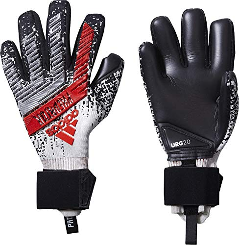 adidas Predator PRO, Goalkeeper Gloves Unisex – Adulto, Silver Met./Black/Hi-RES Red S18, 10