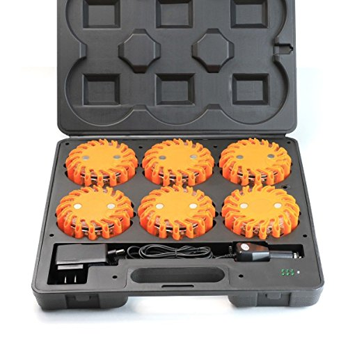 XtremepowerUS 6-Packs LED Road Flares Emergency Lights Rechargeable Led Road Flare Beacon Light Charger & Carrying Case