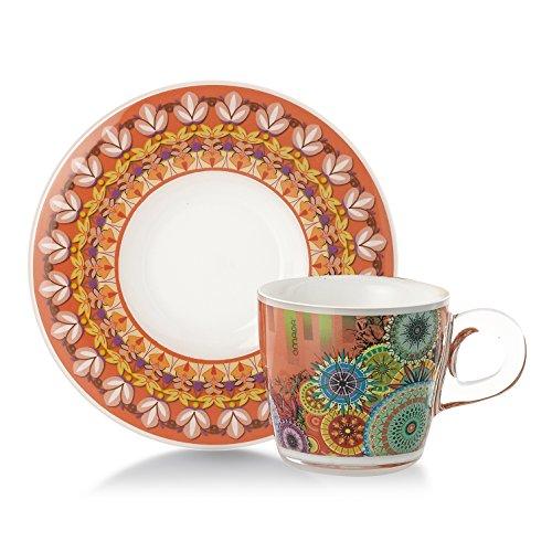 Omada Design Set aus 4 Kaffeetassen mit Untertassen, Inhalt 6 cl, aus unzerbrechlichem Kunststoff, spülmaschinenfest, Plexart-Linie, unzerstörbare Dekorationsfarben, Designlösung für Bars, Restaurants