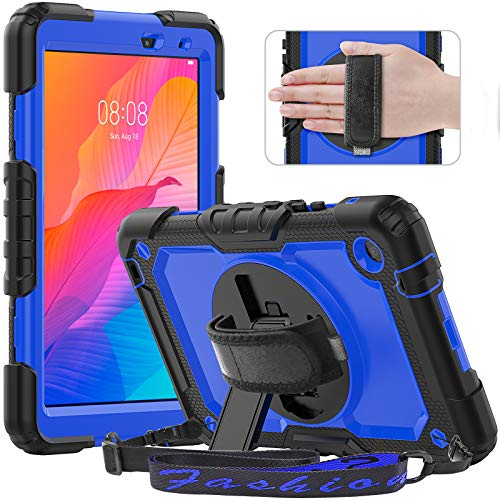 Timecity Case for Lenovo Tab M8 HD 2nd Gen/Tab M8 FHD 2019, Full-body Protective Shockproof Tablet Cover with Screen Protector, 360° Rotating Stand, Hand/Shoulder Strap for Lenovo M8 8.0', Dark Blue