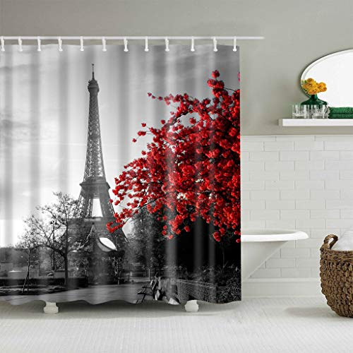 XCBN Waterproof shower curtain with hook for Paris shower curtain landscape decoration bathroom home decoration A10 90x180cm