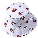 Sombrero de pescador reversible para mujer y hombre con estampado de frutas, para el aire libre
