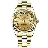 CADISEN Reloj automático para hombre con reserva de marcha, cristal de zafiro, resistente al agua, correa de acero inoxidable., dorado, 40MM,