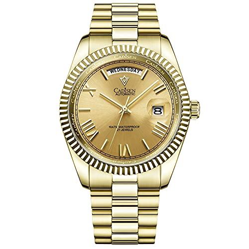 CADISEN Reloj automático para hombre, mecanismo automático, cristal de zafiro y correa de acero inoxidable, dorado,