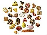 AMOBESTER Mixed Cabochons Dollhouse Play Food Flatback Resin Embellishments 30Psc Bread