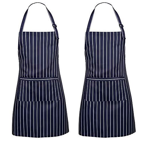 ss shovan Schürze, 2 Pack Küchenschürze Verstellbare Wasserdicht beständig mit 2 Taschen Kochen Küche Garten BBQ Schürzen, Blau-Weiss, für Frauen Männer Chef