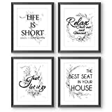 Wall Decor Bathroom Quotes Saying Prints, 8x10 Textured Watercolor Wild Foliage Black White Pictures Words Poster, Home Office Toilet Living Room Dining (Frames Not Included)