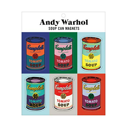 "Andy Warhol Soup Can Magnet Set – Artistic Refrigerator Magnets, Includes 6 Colorful Designs from Artist Andy Warhol, Each One Measures 1.25"" x 2.25"" – Makes A Great Gift for Art Fans"