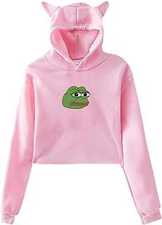 Women's Cat Ear Pepe The Frog Hoodie Sweatshirt