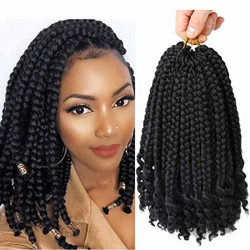 6 Packs Crochet Box Braids Curly Ends 10 Inch Crochet Braids Bohemian Box Braids Crochet Hair for Black Women (1B, 10 Inch)