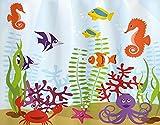 PANILUR DIY 5D kits de pintura de diamante por números, compatible con acuarios, animales marinos, colección de hábitat acuático tropical, caballito de mar, cangrejo, pulpo, multicolor, diamantes de