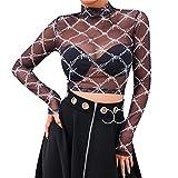 Patifia T-Shirt Damen, Die Perspektive der reizvollen Mode-Frauen Oberteile mit hohem Kragen und Karomuster in Schachbrett-Optik übersteigt Netz-Oansatz beiläufiges Streetwear Strandtop