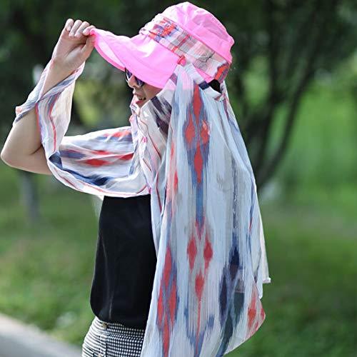 LTH-GD Gorra de Invierno y Sombrero 360 Protección Completa Gorra de protección Solar Secado rápido Sombra Transpirable Secado rápido Cubrir la Tapa Facial (Color : Pink)