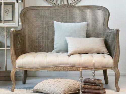 Chic Antique Neu französisches Sofa Chippendale Geflecht Leinen Holz Leinensofa Vintagesofa Vintage Shabby Chic Gründerzeit Jugendstil Sessel