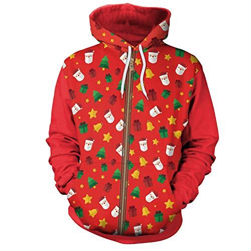 HUBINGRONG Mujeres Hombres Navidad Invierno Hip-Hop Punk Impresas con Capucha de Dibujos Animados en 3D Regalo de Papá Noel Costura Cremallera Abrir suéteres Colorido Sudaderas Parej