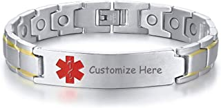Custom Engraving Watch Band Stainless Steel Magnet Therapy Medical Alert ID Bracelet,Adjustable